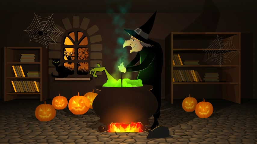 ведьма : 01617 Witch Preparing A Potion In Cauldron With Halloween Pumpkins In Spooky House