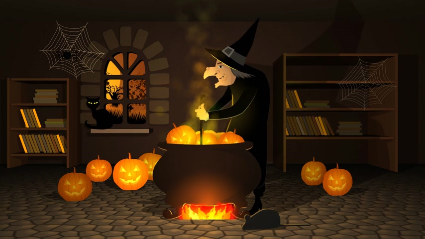 kriko : 01619 Witch Preparing A Potion In Cauldron With Halloween Pumpkins In Spooky House Stok Video