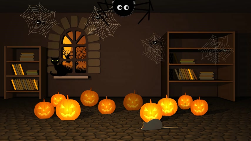 diabeł : 01620 Scary Halloween Pumpkins And Spider In Witch House Wideo