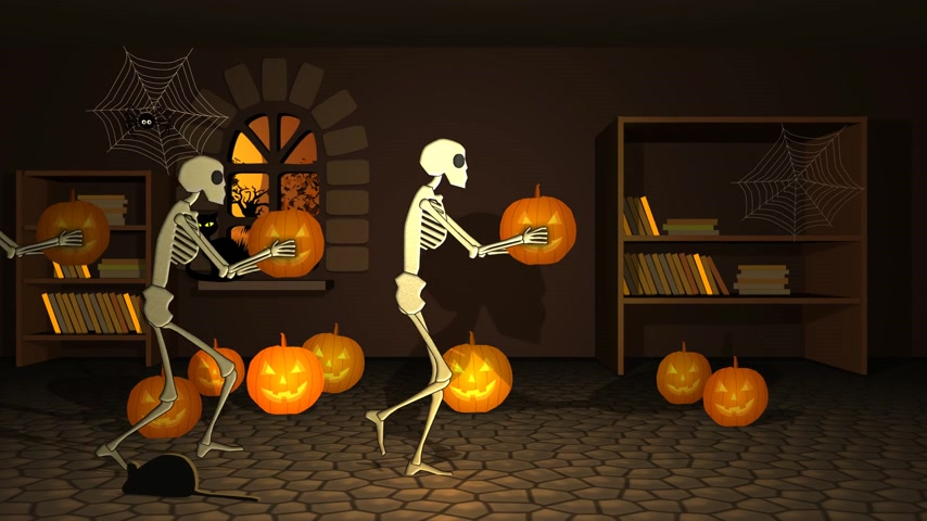 zło : 01626 Group Of Human Skeleton Walking In Witch House With Pumpkin Lantern