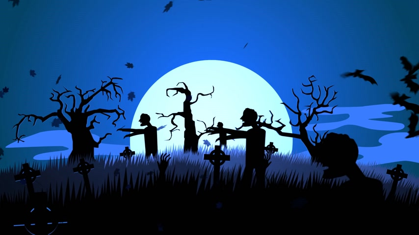 gravestone : 01628 A Creepy Graveyard Halloween Background Scene With Graves, Evil Pumpkins on Trees, And Spooky Moonlit Sky Stock Footage