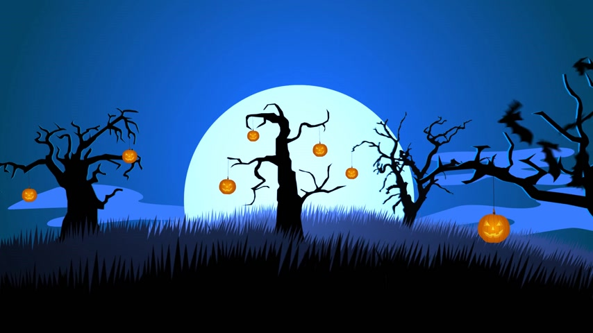 ürpertici : 01629 A Creepy Graveyard Halloween Background Scene With Graves, Evil Pumpkins on Trees, And Spooky Moonlit Sky