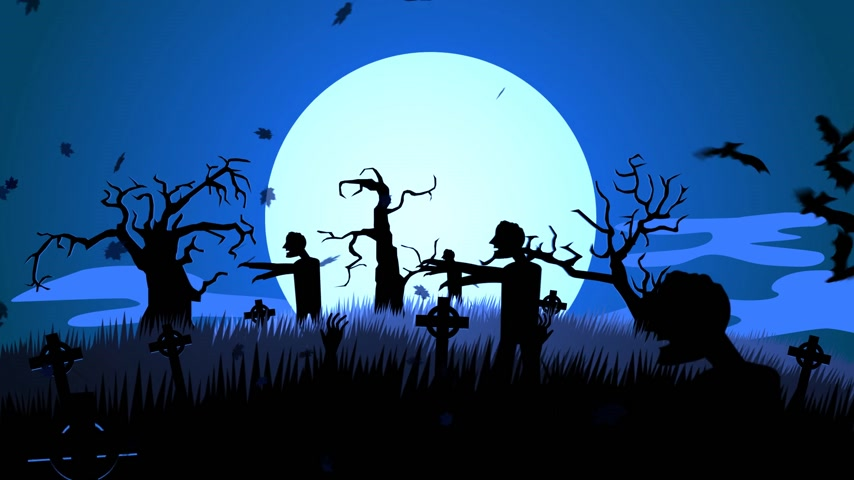 gravestone : 01631 Silhouette Of Creepy Zombie Walking At Spooky Graveyard Against Moonlight Stock Footage