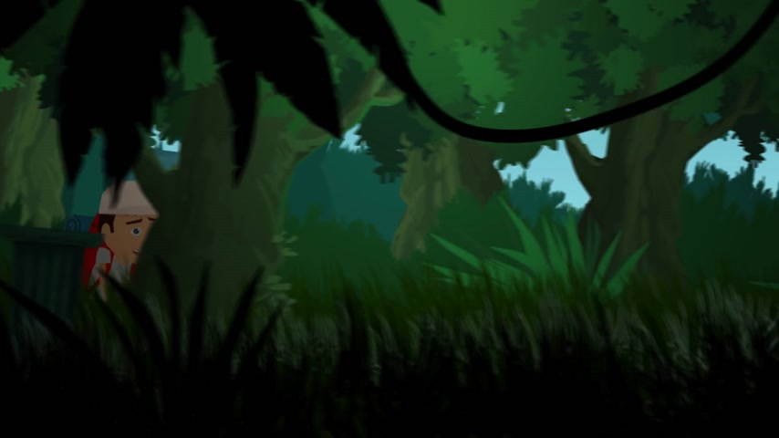 flee : 01825 Skeletons Running After Traveler In Jungle Stock Footage