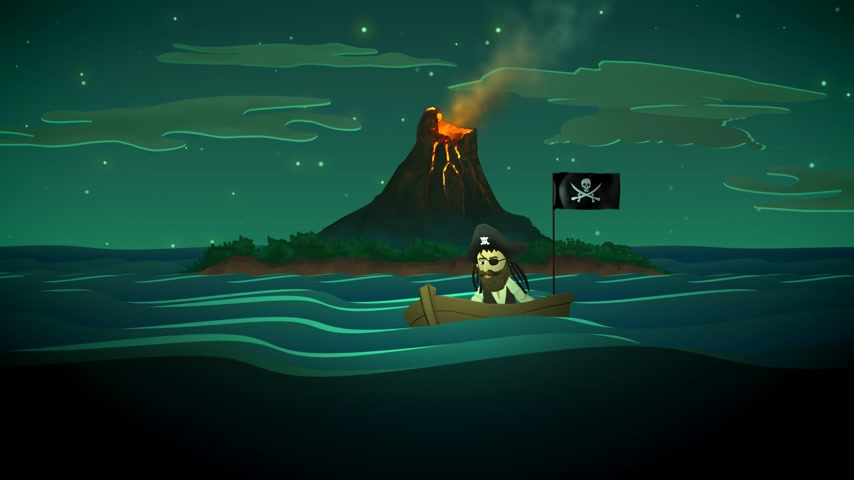 pirat : 01835 Pirate On Boat In Ocean With Active Volcano In Background