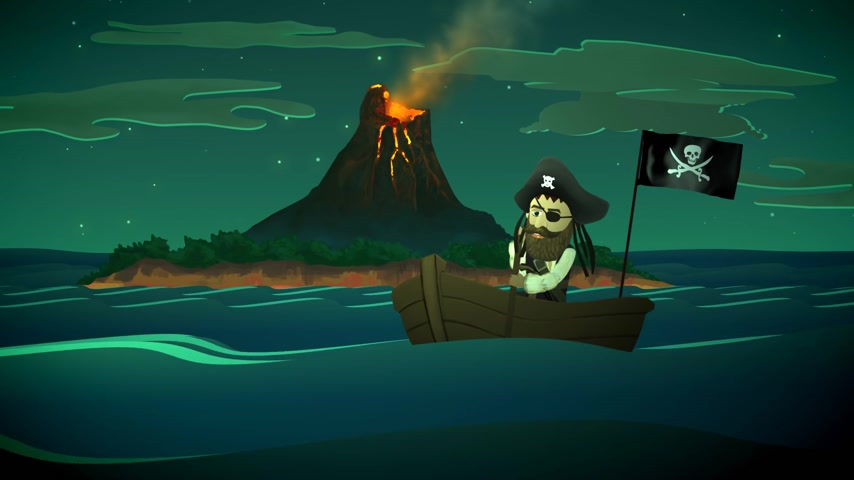 erupt : 01836 Pirate On Boat In Ocean With Active Volcano In Background