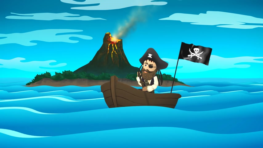 erupt : 01838 Pirate On Boat In Ocean With Active Volcano In Background