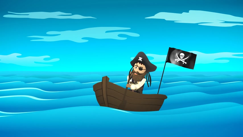 pirat : 01840 Pirate On Boat In Calm Ocean Wideo