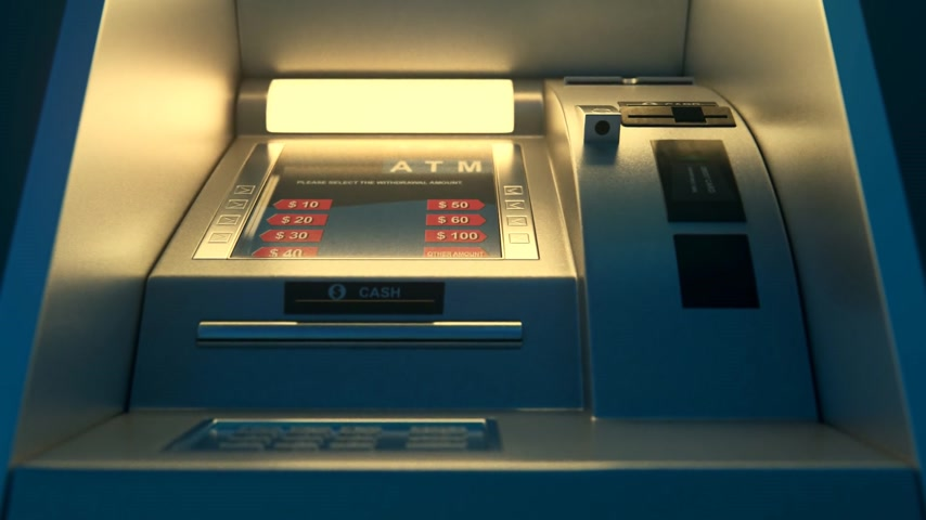 geri çekilme : 02022 Atm Machine With Screen Displaying Withdrawal Amount