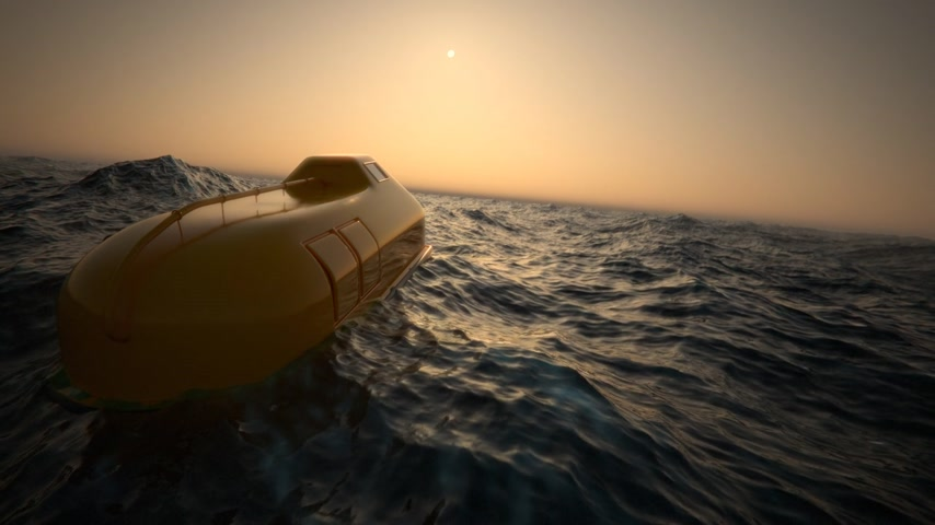 sunset sea : 02037 Lifeboat Floating In Rough Sea Stock Footage