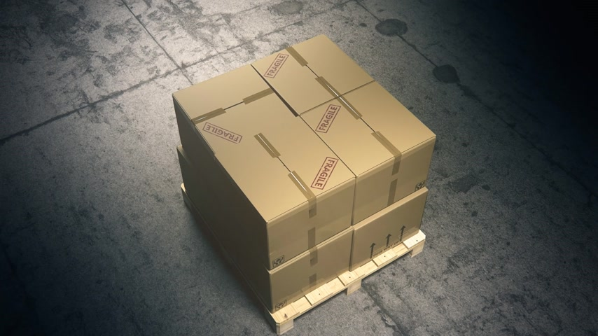 щит : 02052 Stack Of Cardboard Boxes On Wooden Pallet In Warehouse Стоковые видеозаписи