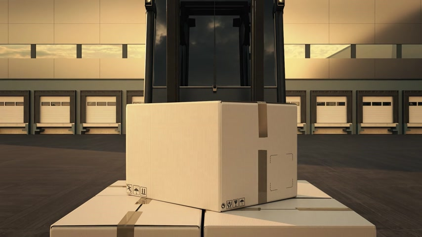 paket : 02078 Forklift Loading Stack Of Boxes In A Delivery Truck Stok Video