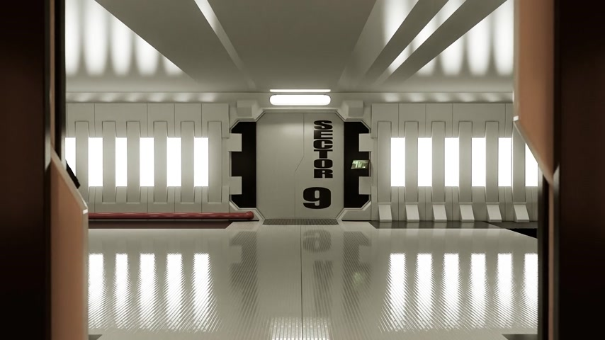 interior : 02089 Futuristic Spaceship Door Opening And Camera Slowly Zooming In