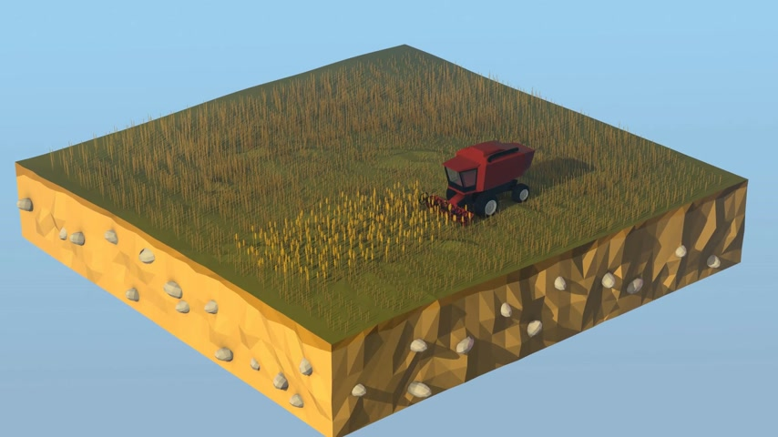venkovský : Combine Harvester Working On Agricultural Land