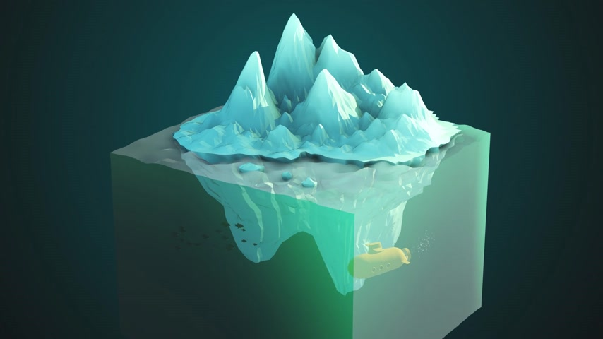 render : 02180 Illustration Of Submarine In Ocean With Iceberg