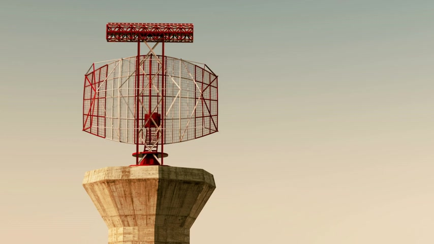 Aeropuerto Radar loopable animación durante el atardecer. Archivo de Video