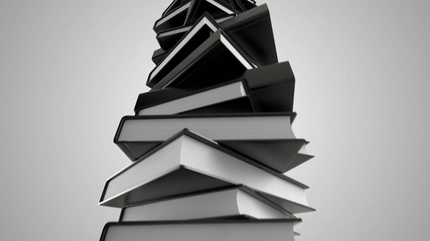 книги : Pile of books loopable animation.
