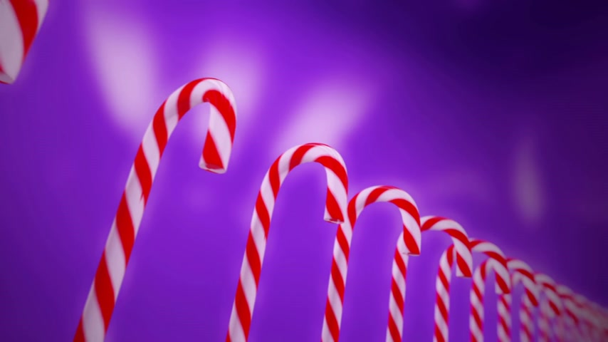 тростник : Hard cane-shaped candy sticks with traditional white and red stripes, flavored with peppermint is very popular during Christmas holidays. Animation is loopable.