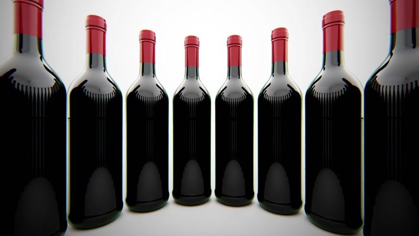 şişeler :   Bottles of wine , alcoholic beverages. Loop able animation  Stok Video