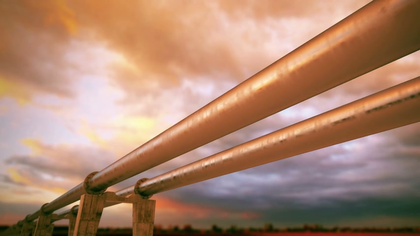 long distances : Pipeline transportation is most common way of transporting goods such as Oil, natural gas or water on long distances. Camera is slowly moving along the pipeline. Animation is loopable.