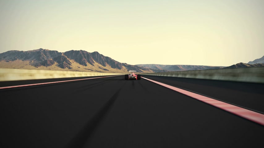 wyscigi : Camera is overtaking generic auto racing car. Clean red and white paint without any advertisements. Camera is following the car and than overtaking it.