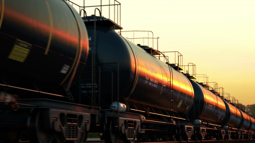 цилиндр : Transportation tank cars with oil during sunset. CG Animation.