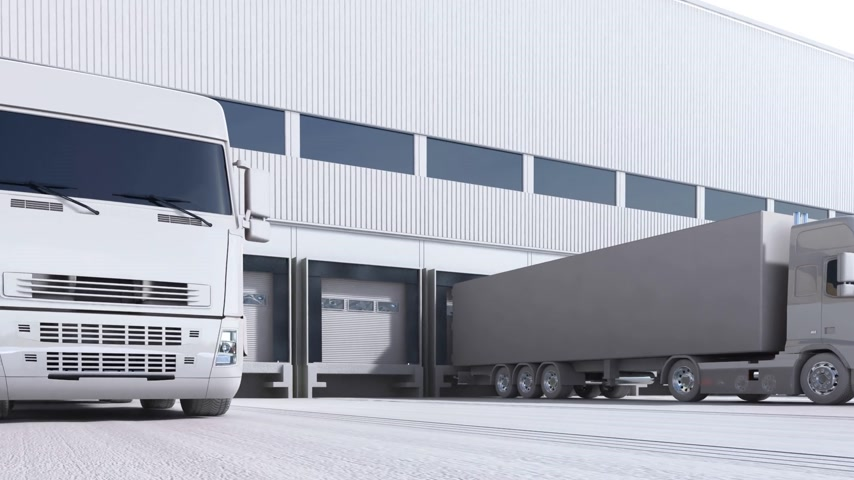 áruk : 3d animation of unloading cargo from truck to warehouse. Stock mozgókép