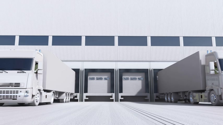 вводить : 3d animation of unloading cargo from truck to warehouse. Стоковые видеозаписи