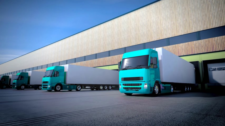 atracação : 3d animation of unloading cargo from truck to warehouse. Stock Footage