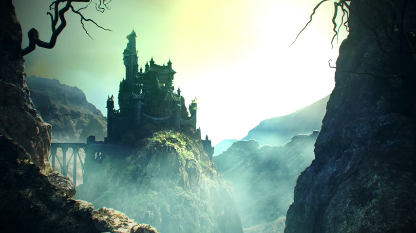 ürpertici : This animation shows a long shot of fantasy castle standing on the hill.