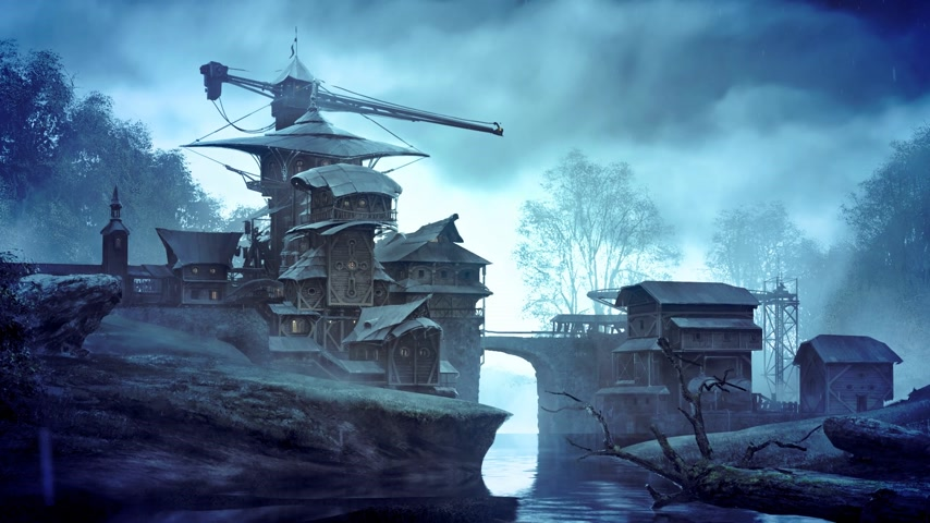 mese : Fantasy building over flowing creek in matte painting style. Usually used in vfx and gameart.