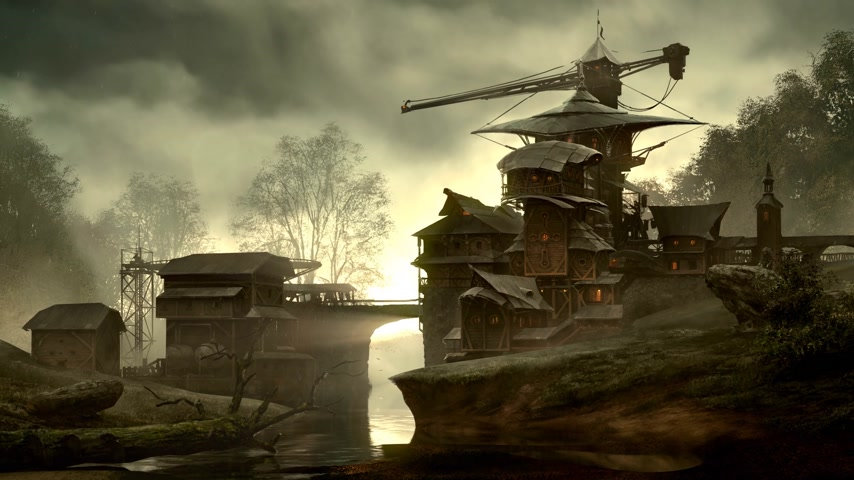 patak : Fantasy building over flowing creek in matte painting style. Usually used in vfx and gameart.