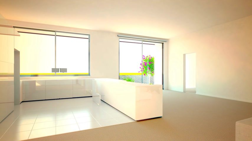 mutfak : 3d animation of kitchen and livingroom furnishing process.