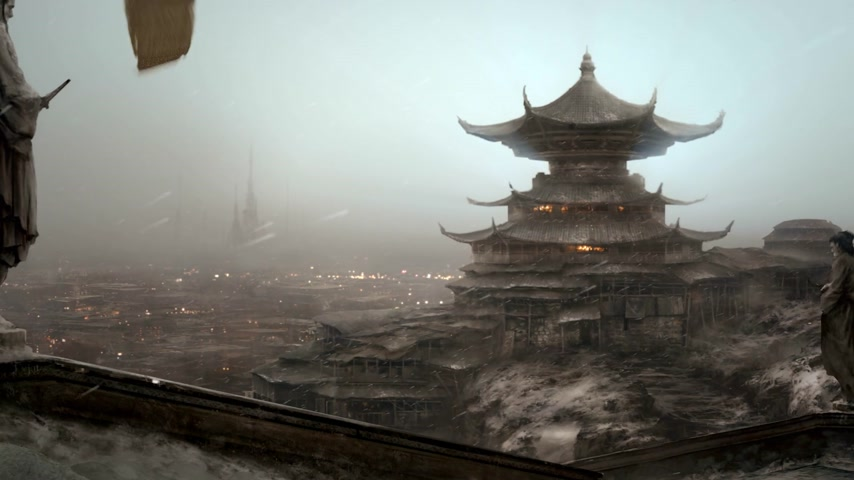 vallási : Animation presents stunning traditional Asian Temple surrounded by moody scenery.