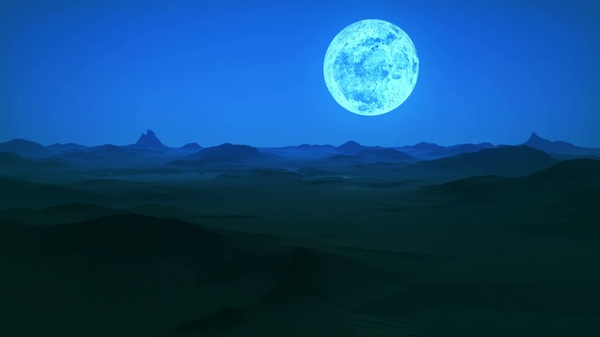 mehtap : Sand hills landscape. Night sky with huge bright moon on the background. Stok Video