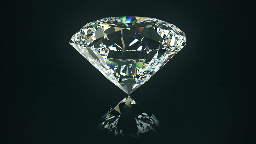 rombusz : Centered view on beautiful, ideal passion cut diamond. Seamless animated presentation of rotating precious gem.