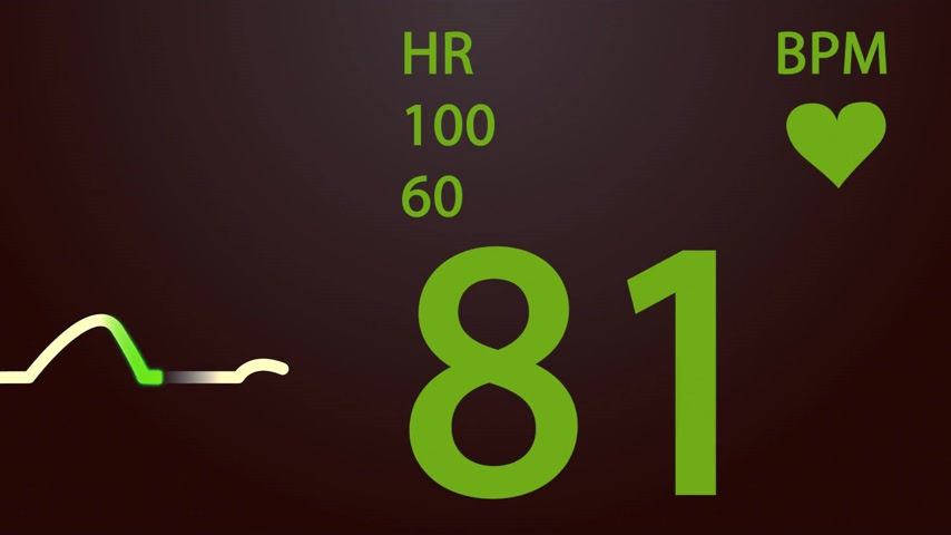 vital signs : Animation of schematic Intensive Care Unit monitor showing normal values for vital signs, starting with cardiac frequency. Closeup on heart rate value. Stock Footage