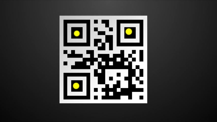 kodeks : Yellow dots are responsible for optical reading of the QR code, which is a matrix type barcode. QR code scanners are easily available by various applications for smartphones.