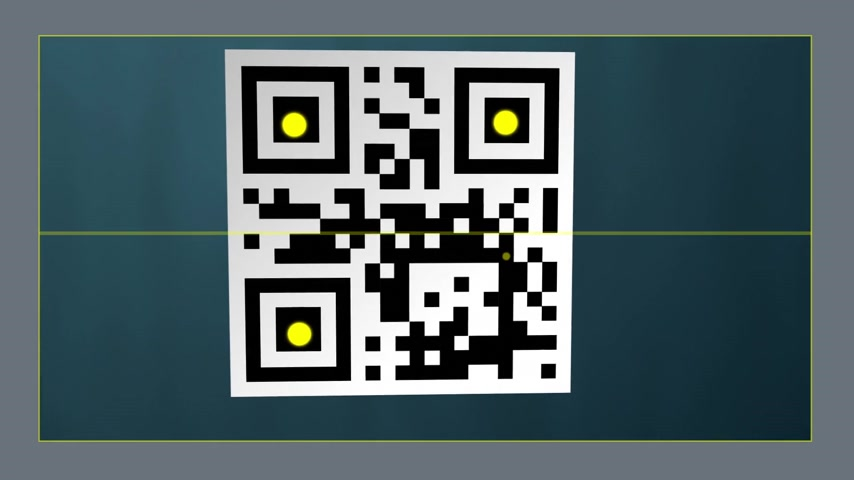 code : Smartphone screen of a QR code scanner application. Yellow dots are responsible for optical reading of the QR code, which is a matrix type barcode. Stock Footage
