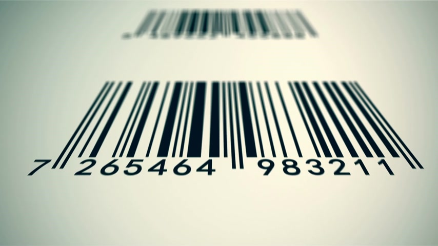 metka : Loopable animation illustrates an array of EAN barcodes being scanned by barcode scanner on a white background. Wideo