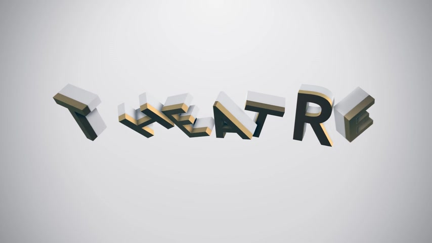 "teatral : Animated icon and typography illustrating ""theatre"" term. Perfect for any art or performance related purposes."
