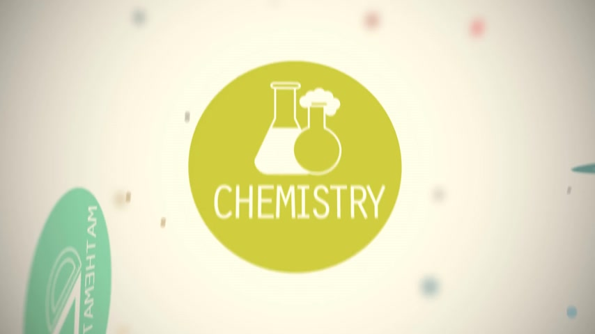 prova : Words along with vector images present various branches of science in dynamic animation. Colorful circles on a white background.