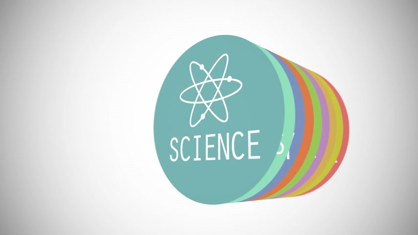 fegyelem : Words along with vector images present various branches of science in dynamic animation. Colorful circles on a white background.
