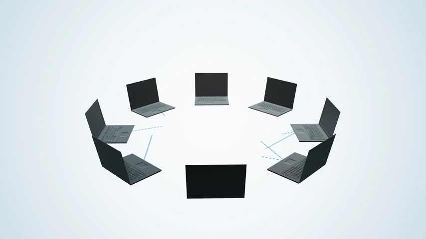 felhőzet : Circle of laptops connected to each other send data to the cloud. Animation presents a concept of cloud computing. Stock mozgókép