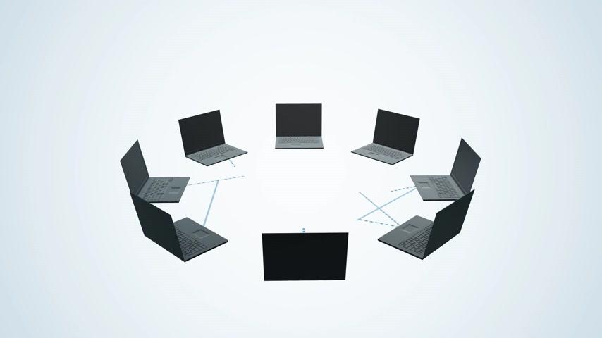 nuvem : Circle of laptops connected to each other send data to the cloud created of binary digits. Animation presents a concept of cloud computing.