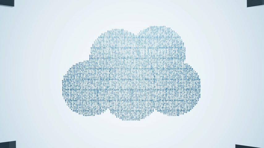 download : Animation presents a concept of cloud computing. Cloud created of blue binary digits is connected to a circle of computers and servers. Vídeos