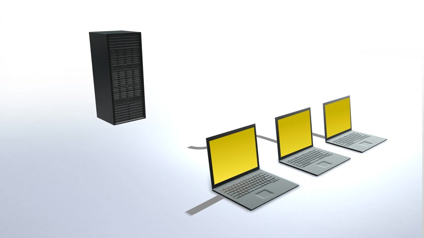 безопасность : Animation presents data transfer between computers and a server.