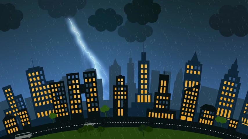 гром : Loopable animation of a city with skycrapers at stormy night. Lightning strike in the background. Стоковые видеозаписи