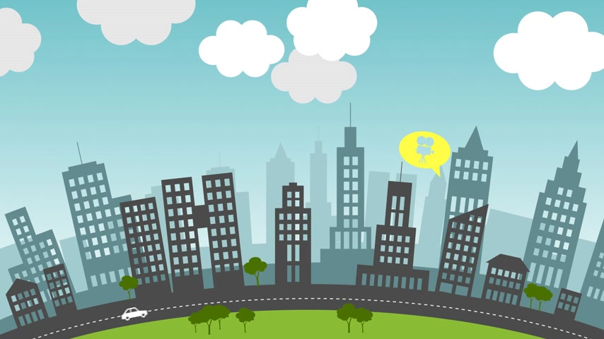sociedade : Animation presents the presence of social media in everyday life of the city residents.