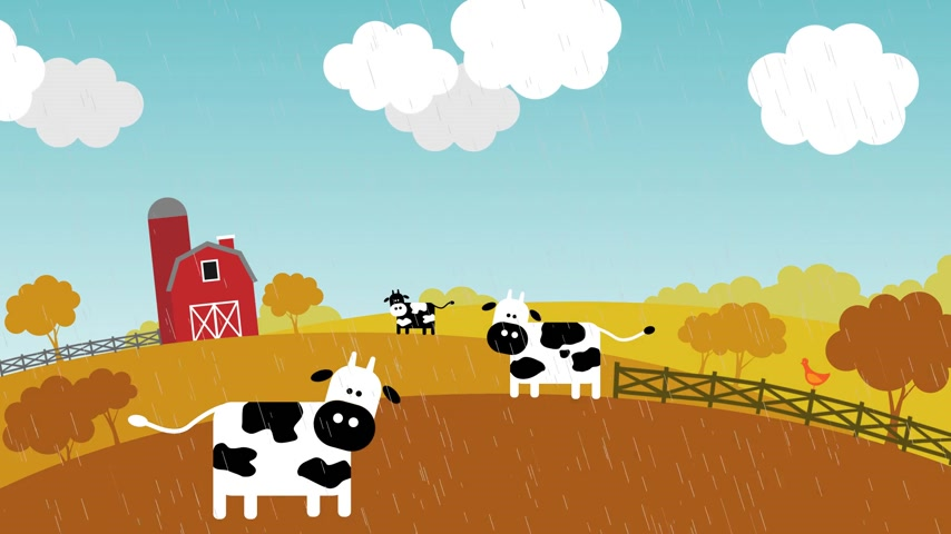 mudança : Loopable animation presents the change of seasons on the farm. Three cows, a chicken and a barn in the background. Stock Footage